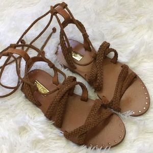 Topshop brown leather braided sandals